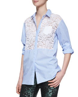 No.21 Pinstripe Lace-Front Button Blouse