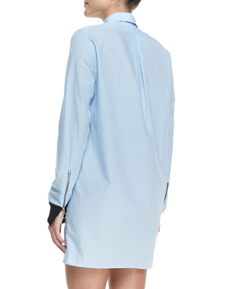 Lyric Rib-Cuff Shirtdress, Pale Blue