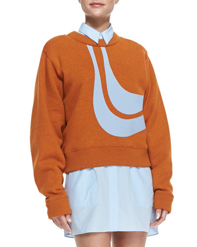 Acne Studios Abstract Bird Applique Sweatshirt, Orange/Sky Blue