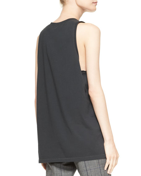 Cash Only Cut-In Tank Top, Soft Black