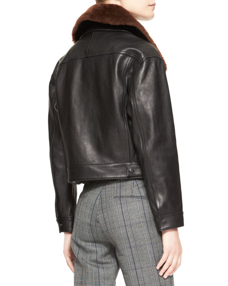 Western Leather Jacket with Removable Fur Collar