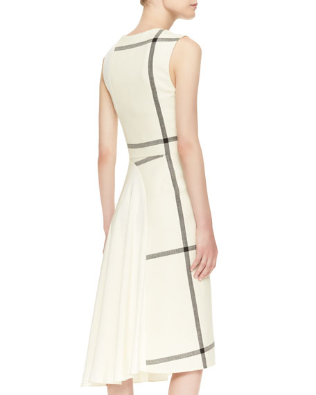 Sleeveless Shadow Grid Dress with Jersey Back, Ivory/Dark Chocolate