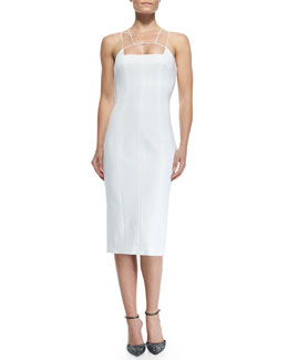 Cushnie et Ochs Power Stretch Dress with Structured Spaghetti Straps