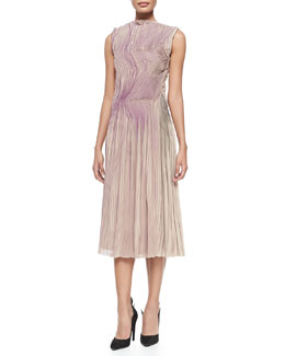 Bottega Veneta Sleeveless Painted Plisse Dress