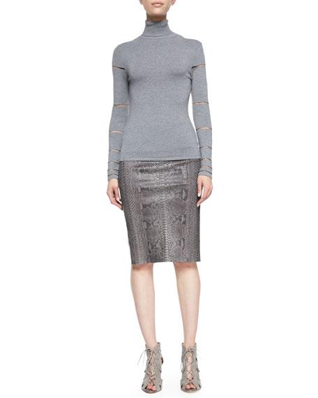 Python-Print Leather Pencil Skirt