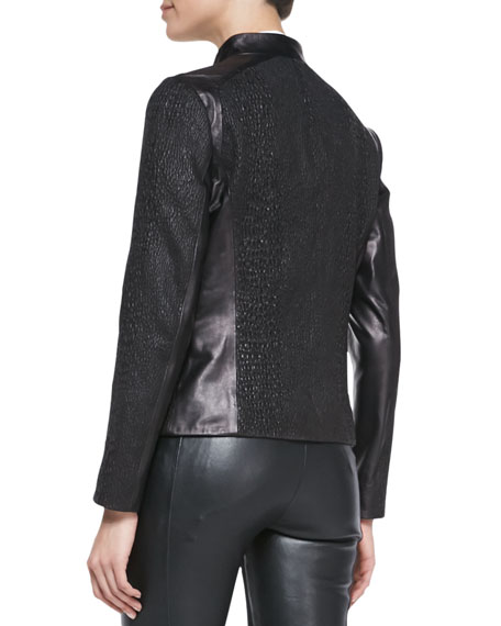 Puckered Stretch Leather Moto Jacket