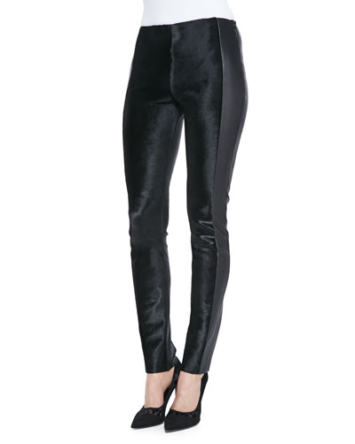 Arzu Kaprol Stretch Calf Hair Paneled Leather Pants