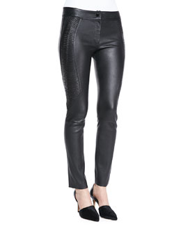 Arzu Kaprol Side-Embroidery Leather Pants