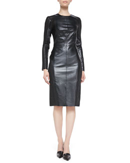 Arzu Kaprol Leather Dress with Embroidered Mesh Panels
