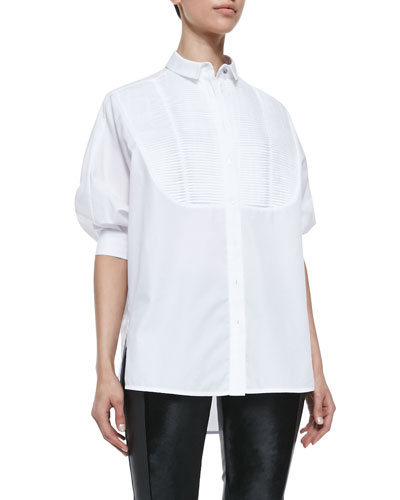Arzu Kaprol Short-Puff-Sleeve Tuxedo Blouse