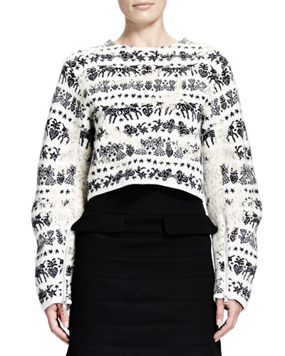 Alexander McQueen Naive Fair Isle Cropped Zip-Sleeve Sweater