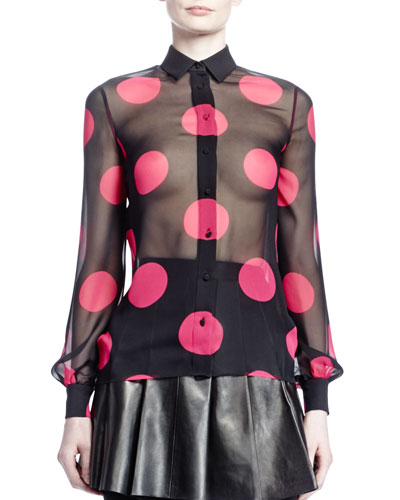 Saint Laurent Large Dot Georgette Shirt, Noir/Fuchsia