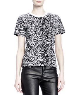 Saint Laurent Short-Sleeve Mini Leopard-Print Tee, White/Black