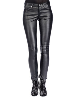 Saint Laurent Leather Skinny Pants, Noir
