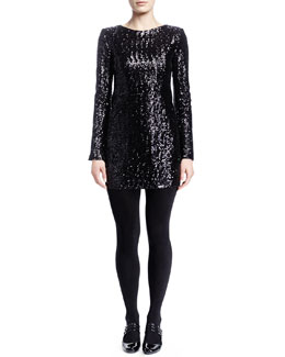 Saint Laurent Long-Sleeve Sequined Minidress, Noir Brilliant