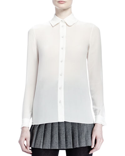 Saint Laurent Collared Silk Georgette Blouse, Shell