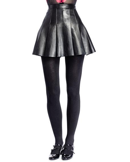 Pleated Leather Miniskirt, Noir