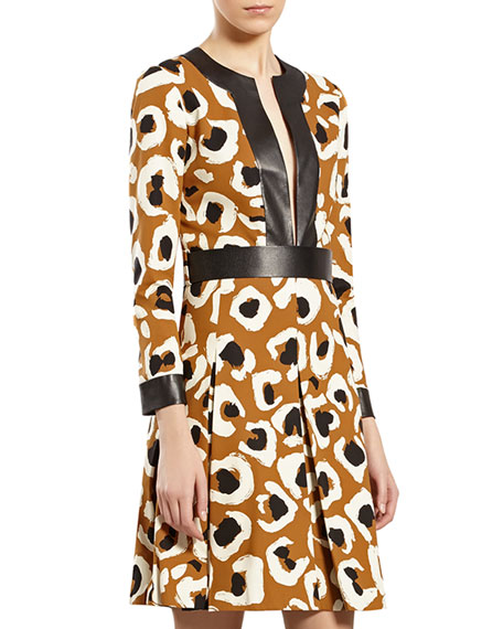 Leopard-Print Dress with Leather Trim