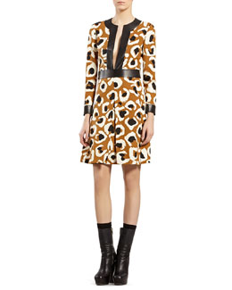 Gucci Leopard-Print Dress with Leather Trim