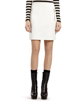 Gucci White Stretch Military Skirt