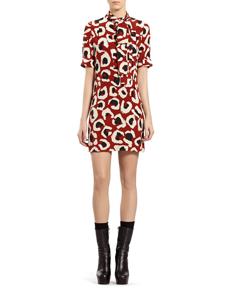 Gucci Leopard-Print Crepe de Chine Dress