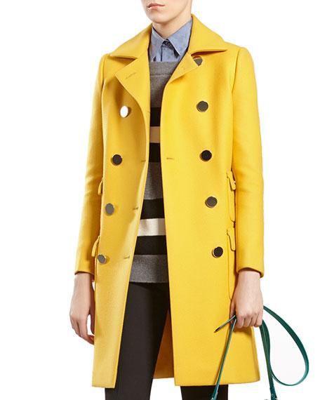 4128ec0b4 Gucci Yellow Wool Coat | Neiman Marcus