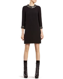 Gucci Black Silk Dress with Beaded Chain Embroidery