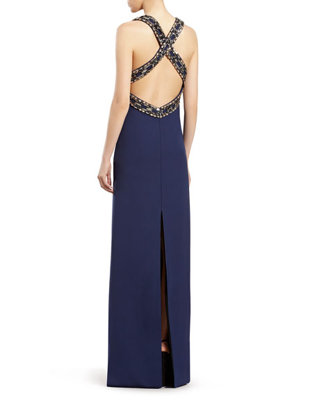 Blue Embroidered Sleeveless Gown