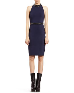 Gucci Blue Stretch Jersey Halter Dress