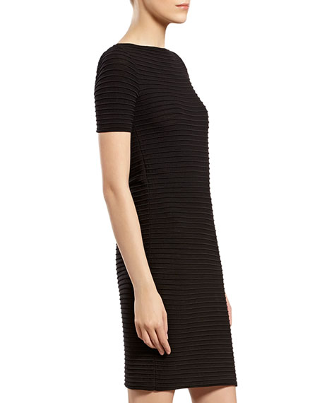 Black Knit Boat-neck Dress