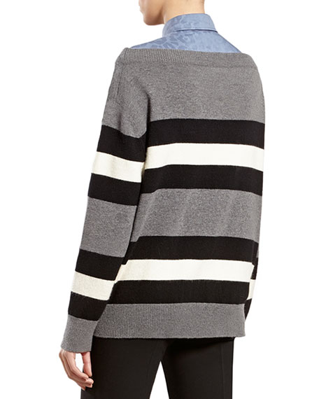Striped Angora-Blend Boat-neck Sweater