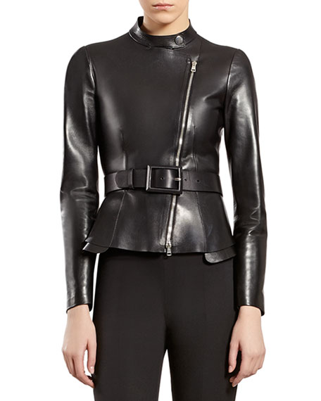 Black Leather Zip-Front Jacket