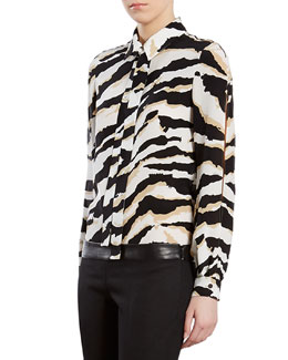 Gucci Tiger-Print Crepe de Chine Shirt
