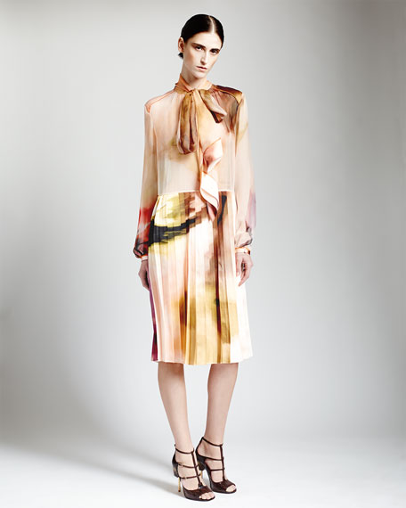 Watercolor Silk Dress with Tie Neck & Pleated Skirt