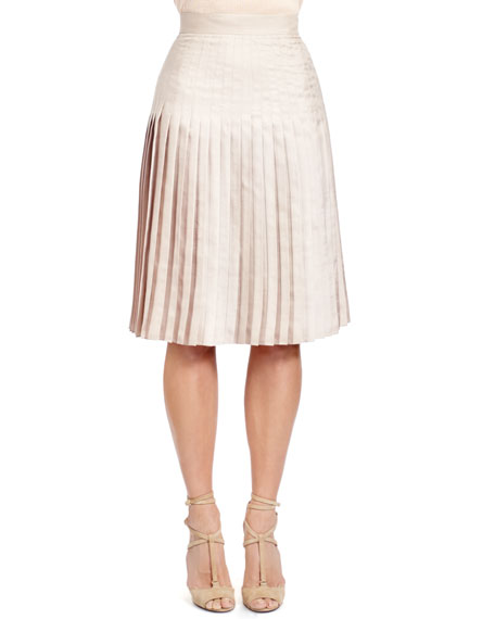 Givenchy Stitch-Down-Pleated Skirt, Taupe-Beige