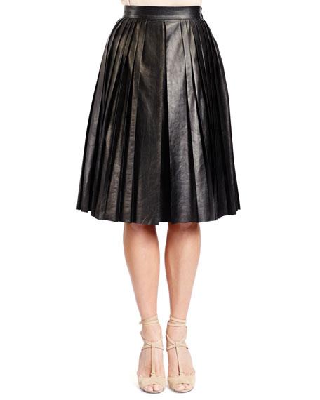 Pleated Lambskin Leather Skirt