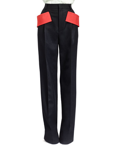 Givenchy Red-Banded Pleated Wool Pants, Black