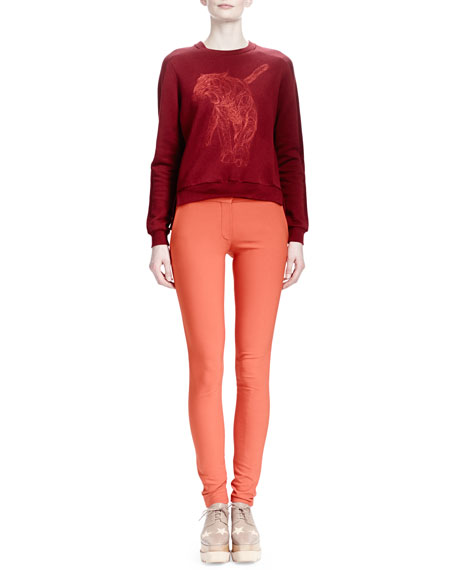 Stretch Cotton Skinny Pants, Burned Orange