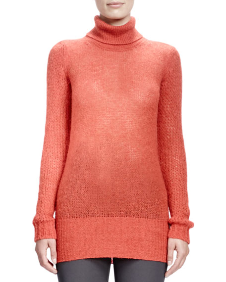 Long-Sleeve Turtleneck Sweater, Burned Orange
