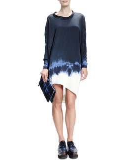 Stella McCartney Long-Sleeve Roll-Neck Tie-Dye Dress, Midnight