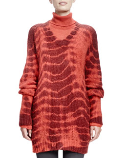 Stella McCartney Long-Sleeve V-Neck Tie-Dye Sweater, Burned Orange