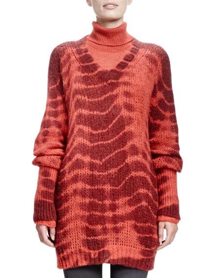 Long-Sleeve V-Neck Tie-Dye Sweater, Burned Orange