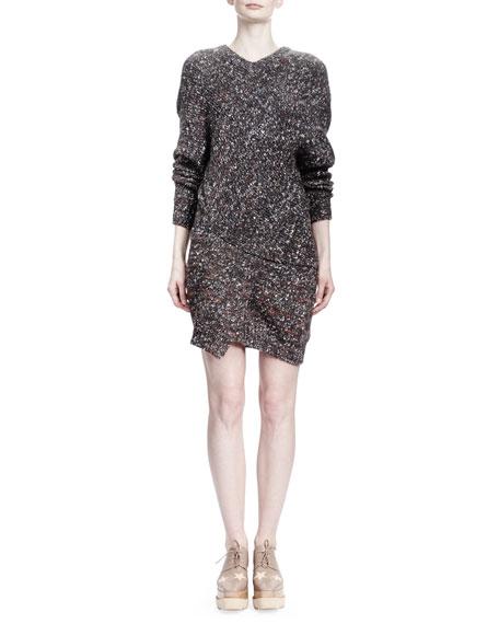 Long-Sleeve V-Neck Chunky Sweaterdress