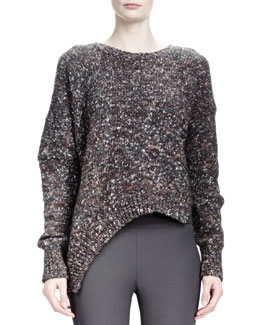 Stella McCartney Long-Sleeve Asymmetric-Hem Chunky Sweater, Charcoal