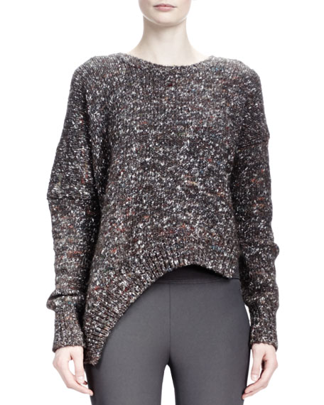 Long-Sleeve Asymmetric-Hem Chunky Sweater, Charcoal