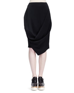 Stella McCartney Draped Crepe Skirt with Folded Bottom
