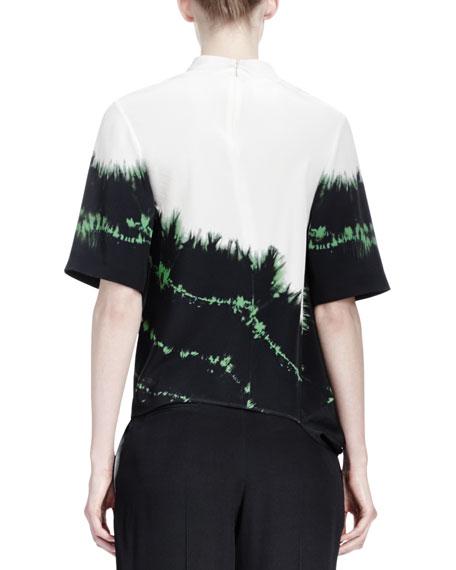 Tie-Tie Silk Top, Emerald/Multi