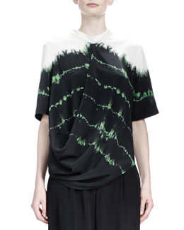 Stella McCartney Tie-Tie Silk Top, Emerald/Multi