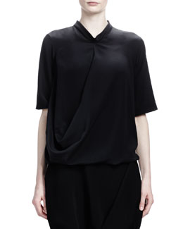 Stella McCartney Short-Sleeve Crepe de Chine Silk Top, Black
