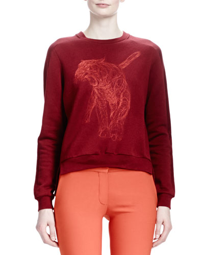 Stella McCartney Tiger-Embroidered Split-Back Top, Ruby